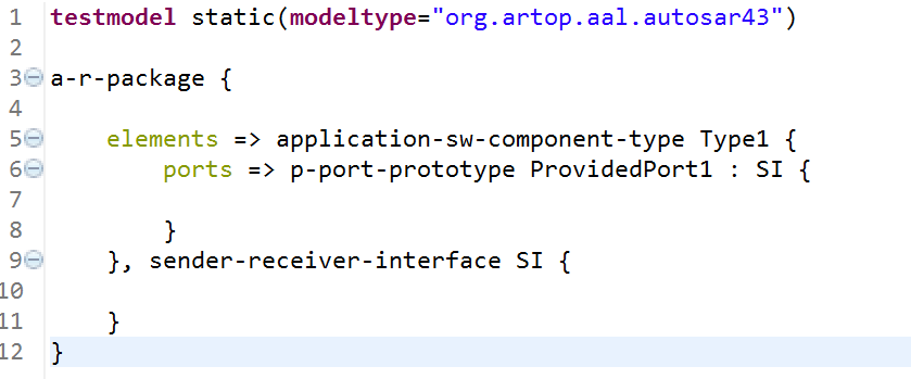 Classic Autosar notation example in code view