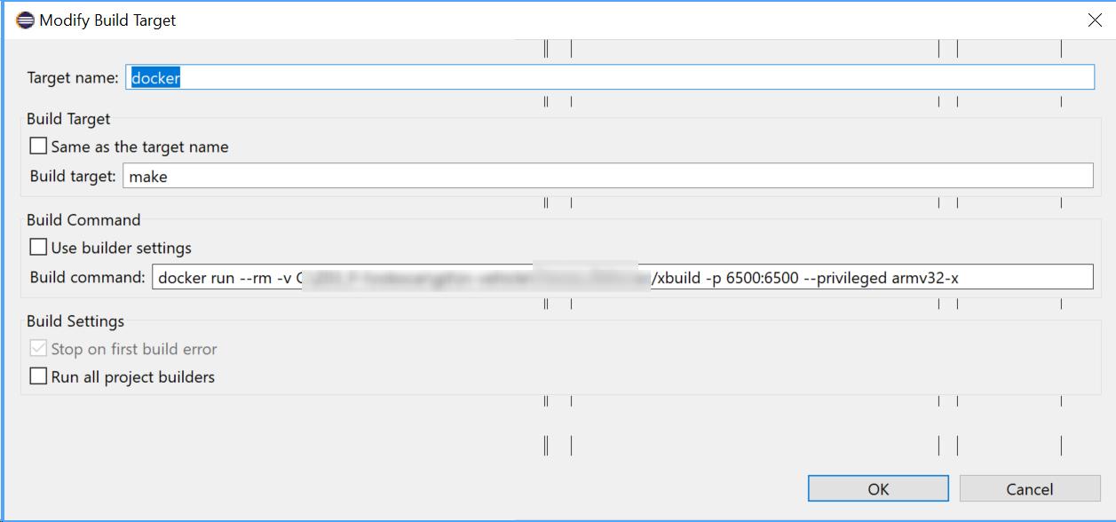 Robocar with Docker: modify build target
