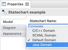 Deep Java integration for YAKINDU state machines: set Java domain