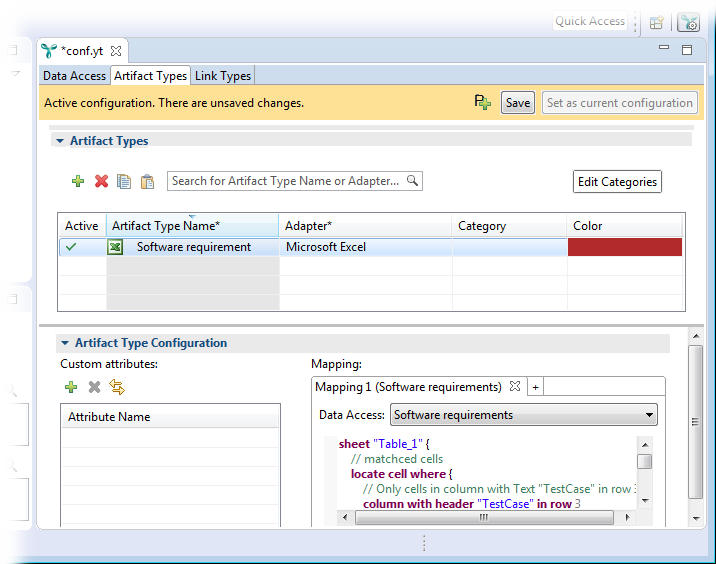 The configuration editor showing the newly-created artifact type