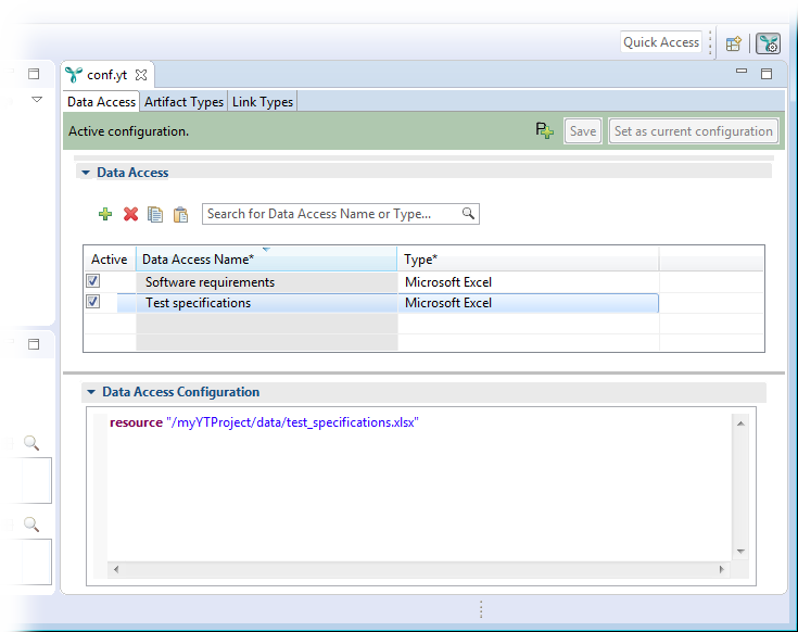 The YT configuration editor showing the newly-created data accesses