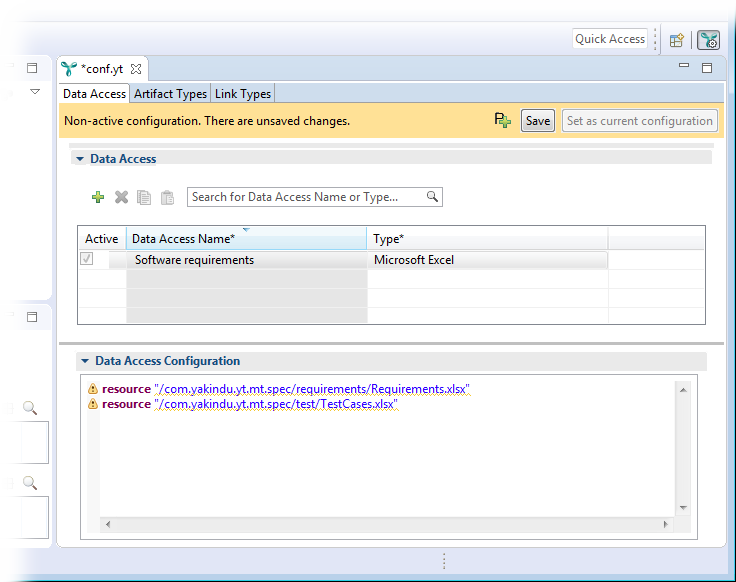 The configuration editor showing the created data access