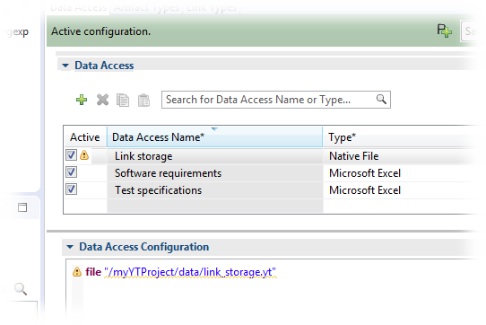 The configuration now comprises a link storage data access.