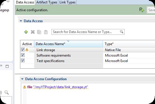 The configuration now comprises a link storage data access.
