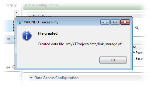 Upon first use, the link storage file has been created.