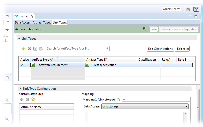 The new link type is shown in the configuration editor.