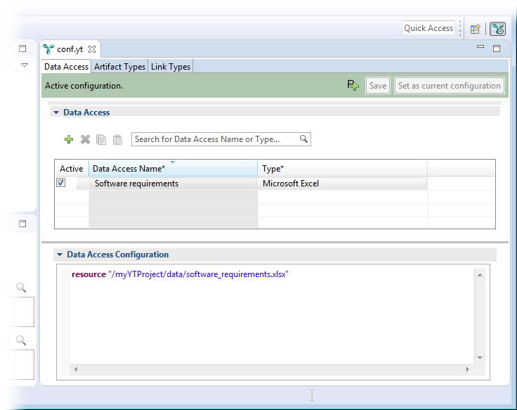 The configuration editor showing the saved and active configuration