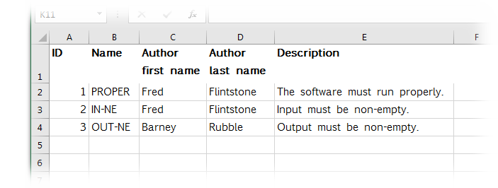 Excel file with software requirements