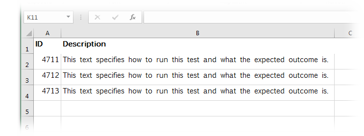Excel file with test specifications