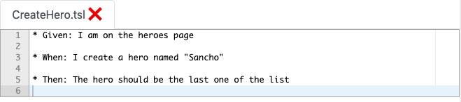 """Beispiel für eine Testspezifikation """"CreateHero.tsl"""""""