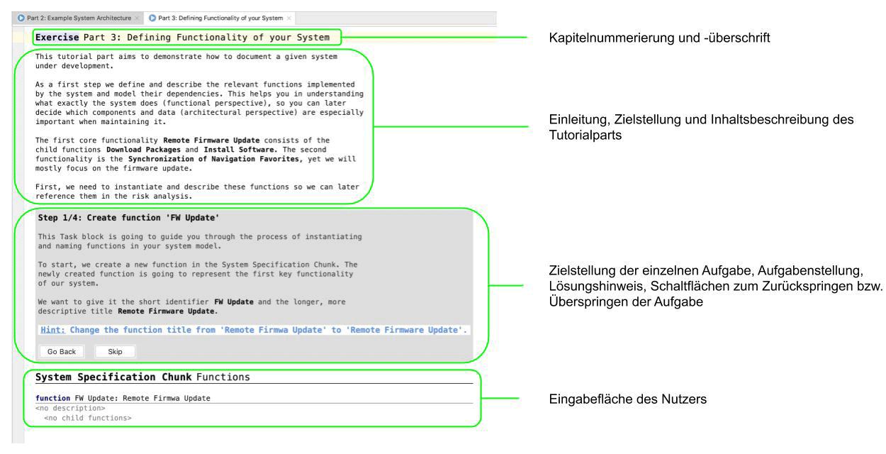 Darstellung des strukturellen Aufbaus der Trainingskapitel im Intool-Tutorial des YAKINDU Security Analyst