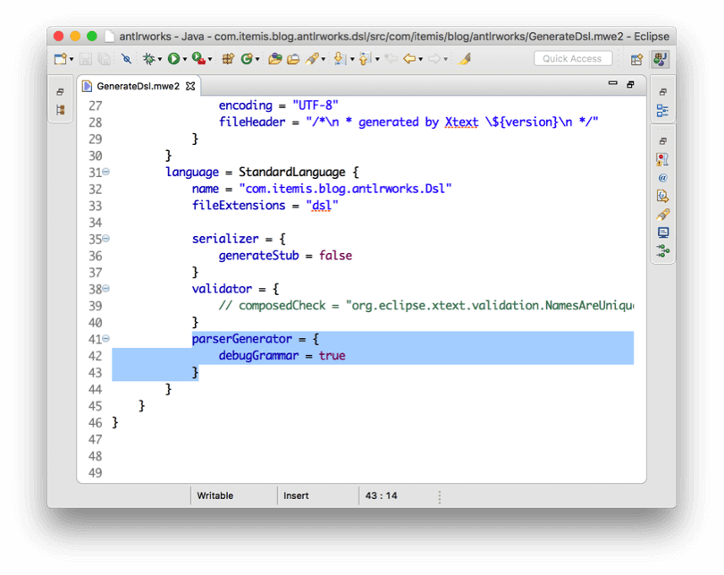Screen of code editor showing workflow modification to generate debuggable grammar