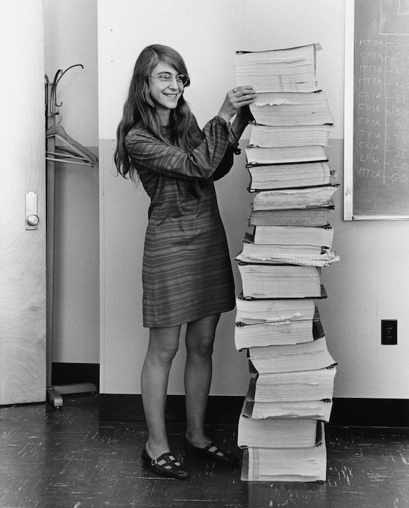 Margaret Hamilton with the Apollo 11 code listings NASA