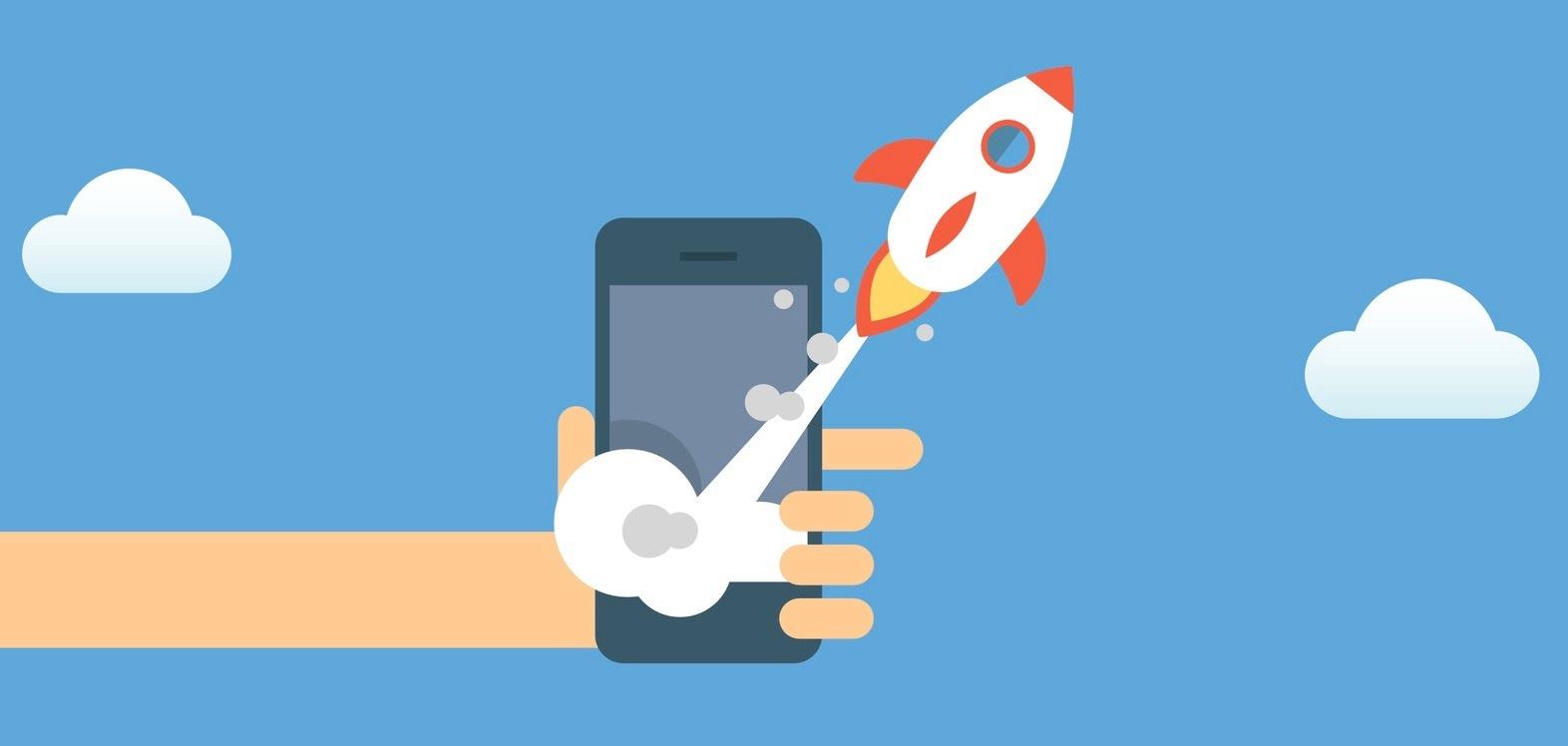 smartphone-app-rakete-startet