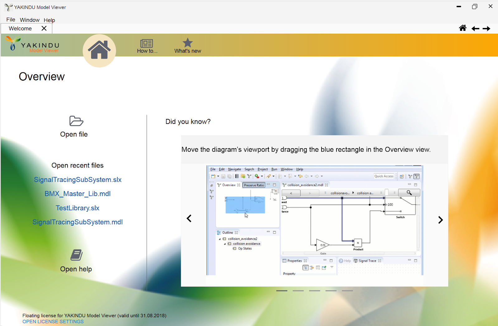Prototype of the welcome page for YAKINDU Model Viewer.