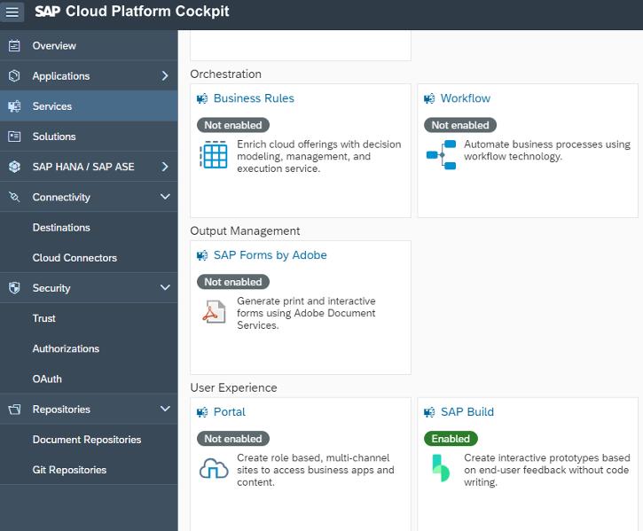 Aktivierung von SAP Build in der SAP Cloud Platform, zum Import eines Fiori Prototypen in die SAP Web IDE
