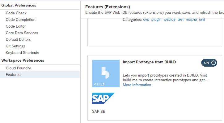 Aktivierung der SAP Build Integration in der SAP Web IDE