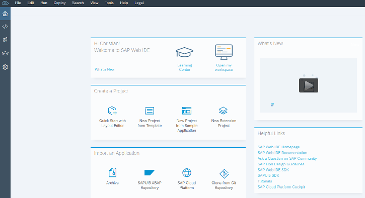 SAPUI5 Entwicklungsumgebung – SAP Web IDE Welcome Screen