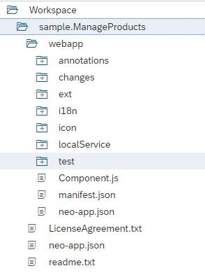 SAP UI5 Entwicklungsumgebung: Baumansicht des Workspace der SAP Web IDE