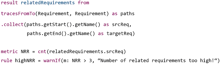 Code snippet with TAL expressions result, metric and rule