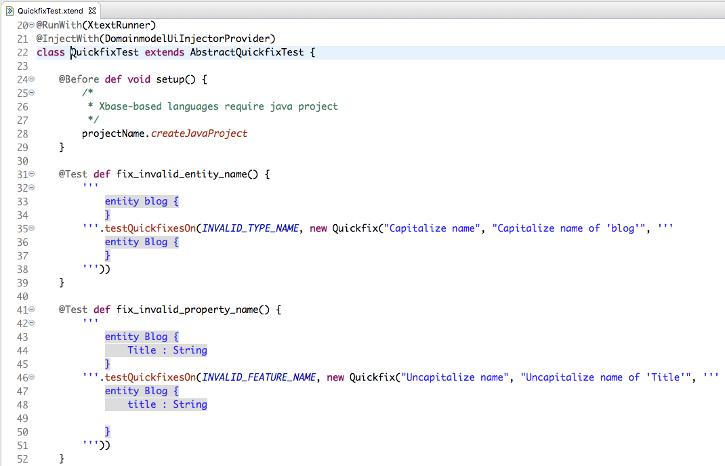 Xtext quickfix testing API screenshot