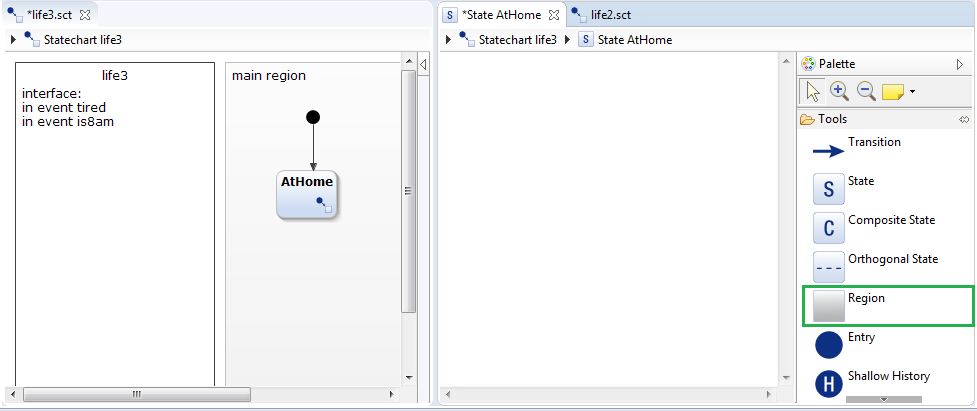 Create subdiagram by creating a new region with YAKINDU Statechart Tools