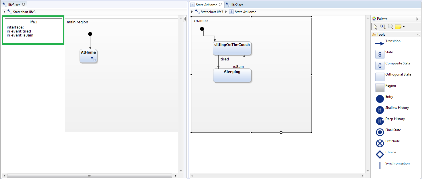 Create subdiagram and define events for it with YAKINDU Statechart Tools