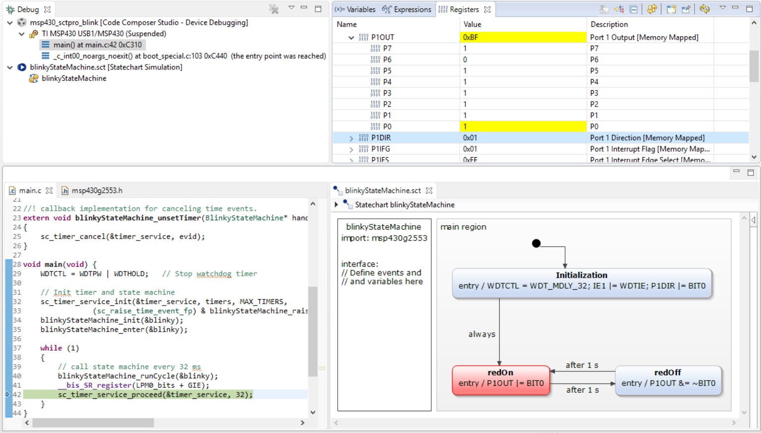 Screen YAKINDU statechart tools integrated in code composer studio
