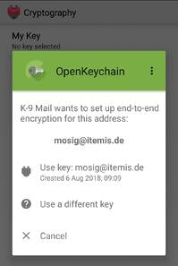 K-9 Mail  – selection of private key for the e-mail account