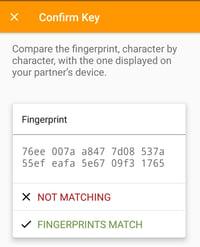 OpenKeychain key confirmation by comparing key fingerprints
