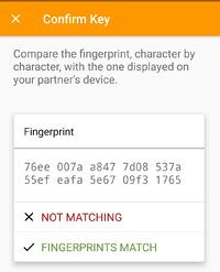 OpenKeychain key confirmation by comparing key fingerprints