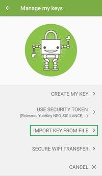 OpenKeychain setup – import key from file option