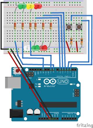 Arduino traffic light setup